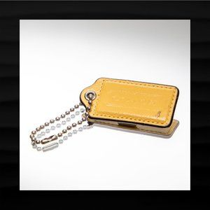 2.5″ Large COACH YELLOW PATENT LEATHER KEY FOB
